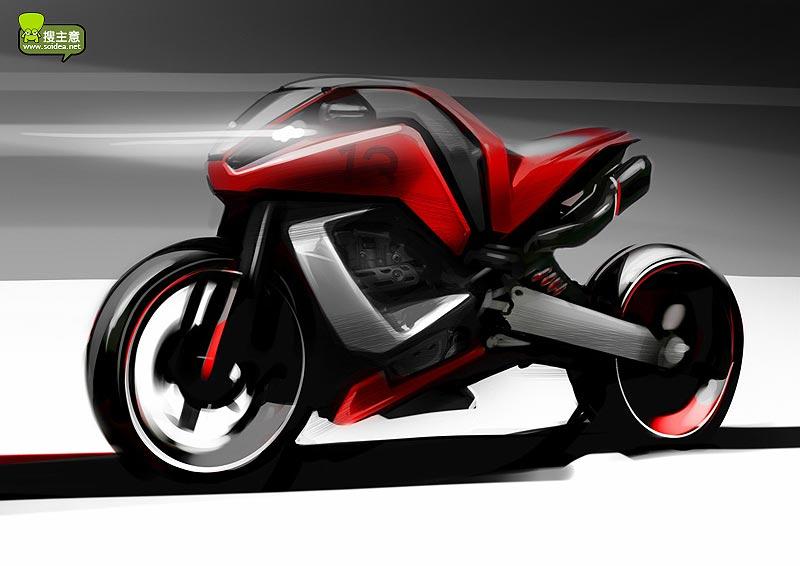 摩托车快速手绘教程_工业设计